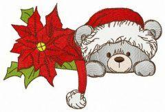 Poinsettia and cute teddy embroidery design