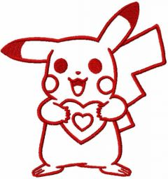 Pokemon with heart one colored embroidery design