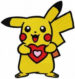 Pokemon with heart embroidery design
