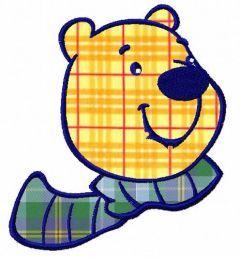 Polar bear face applique 2 embroidery design