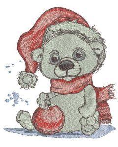 Polar bear with Christmas ball embroidery design