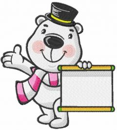 Polar bear with information banner embroidery design