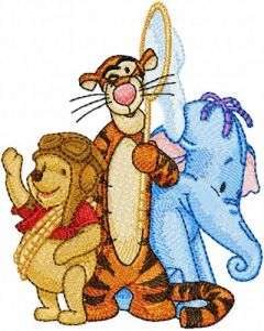 Winnie Pooh, Tigger and Heffalump embroidery design