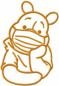 Pooh in mask one colored embroidery design