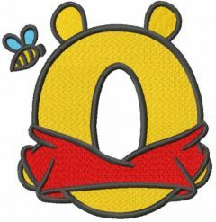 Pooh one letter embroidery design