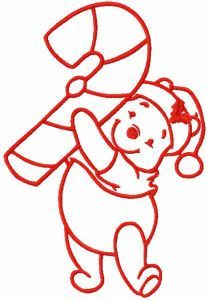 Pooh with candy stick one colored embroidery design