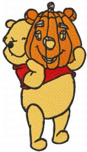 Pooh with Halloween pumpkin embroidery design