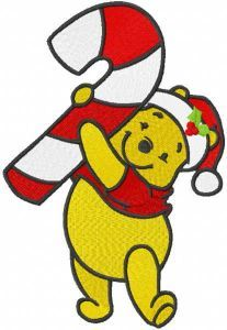 Pooh with stick candy christmas embroidery design