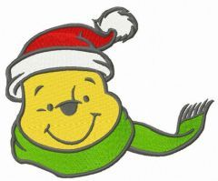 Pooh's knitted green scarf embroidery design