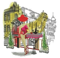 Posh girl in cafe embroidery design