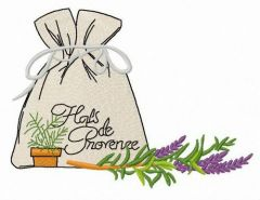 Pouch with provencal herbs embroidery design