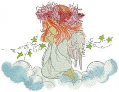 Praying angel embroidery design 5