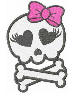 Pretty monster skull embroidery design