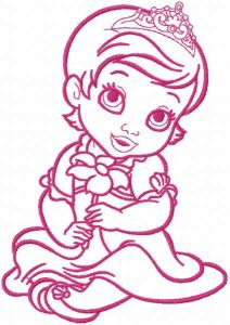 Princess with flower one colored embroidery design