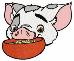 Pua with bowl embroidery design 3