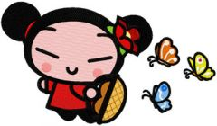 Pucca Fly as Butterfly embroidery design