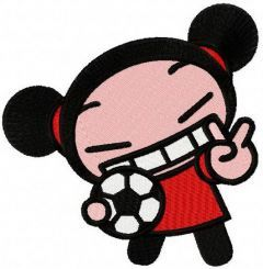 Pucca football player embroidery design