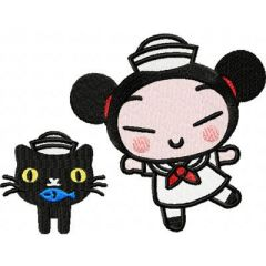 Pucca Dancing with a Cat embroidery design