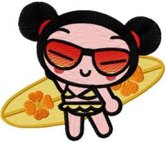 Pucca Surfer embroidery design