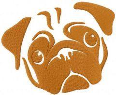 Pug dog muzzle free embroidery design