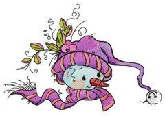 Purple winter set for snowman embroidery design