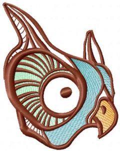 Rainbow owl embroidery design
