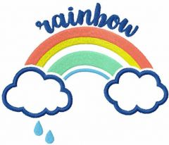 Rainbow and clouds free embroidery design