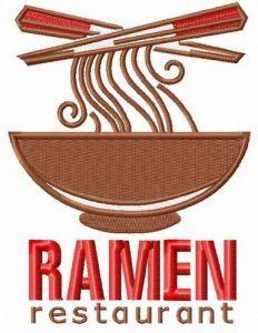 Ramen restaurant logo embroidery design