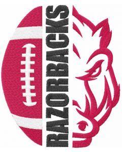 Razorbacks football logo embroidery design