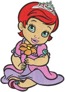 Red hair princess with flower embroidery design