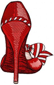 Red high heel embroidery design