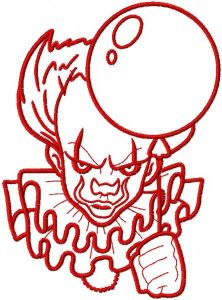 Red Joker with balloon embroidery design