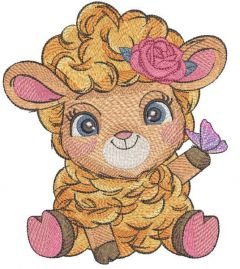 Red sheep with butterfly embroidery design