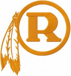 Redskins r one colored logo embroidery design