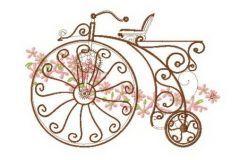 Retro bicycle 2 embroidery design