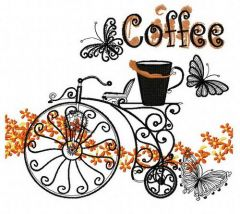 Retro bicycle and coffee embroidery design