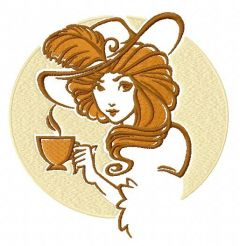 Retro girl with coffee cup embroidery design
