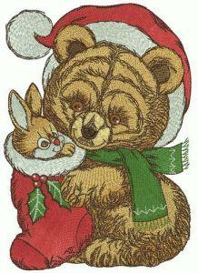 Retro teddy bear in Santa hat embroidery design