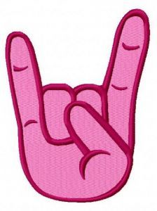 Rock on 3 embroidery design