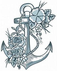Romantic marine composition embroidery design