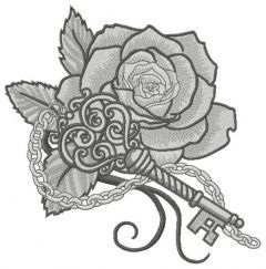 Rose and vintage key 2 embroidery design