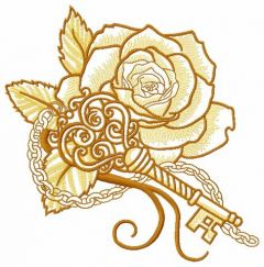Rose and vintage key 3 embroidery design