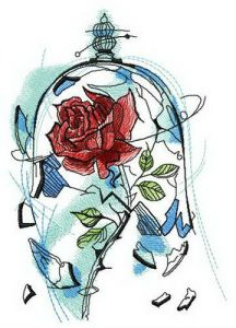 Rose breaks dome embroidery design