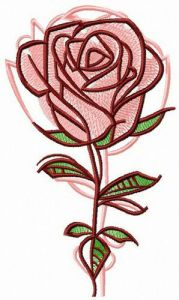 Rose reflection embroidery design
