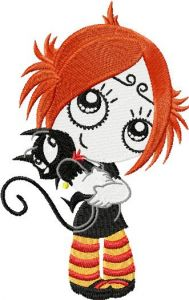 Ruby Gloom Loves Kitty embroidery design