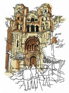 Ruined cathedral embroidery design