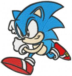 Running Sonic the Hedgehog embroidery design