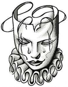 Sad Arlekin mask embroidery design