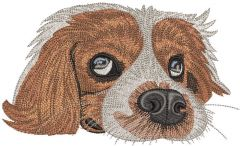 Sad dog is waiting for the owner embroidery design