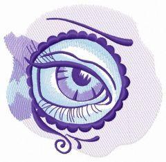 Sad eye in circle embroidery design